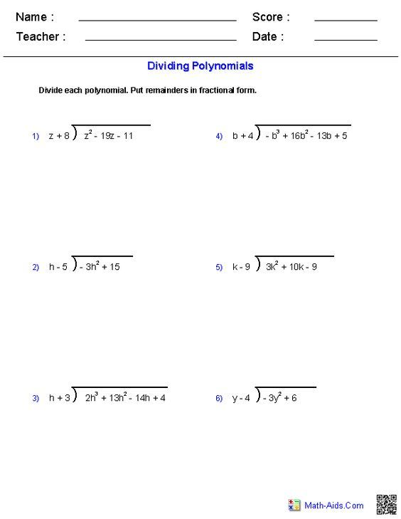 Division Worksheets With Remainders Algebra 2 Synthetic Division