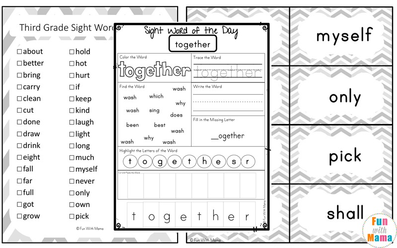 Free Dolch Third Grade Sight Words Worksheets