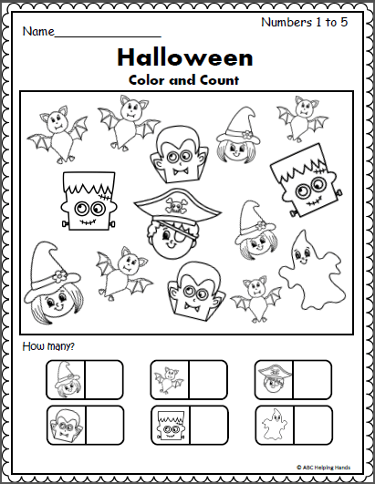 Halloween Counting Worksheet (1 To 5