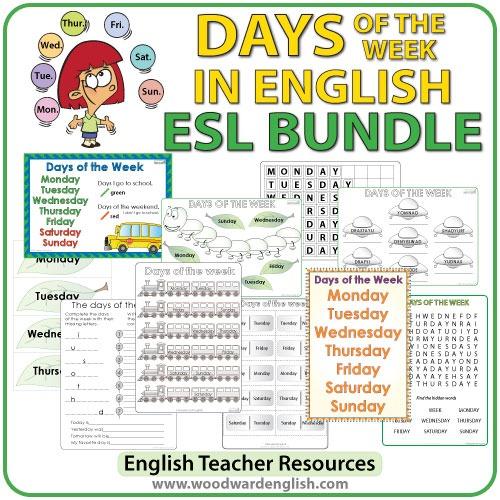 English Days Of The Week – Bundle Of Esl Activities