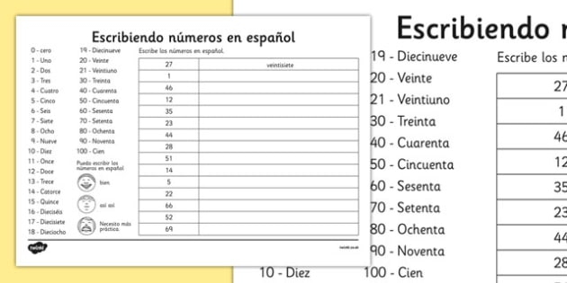 Writing Spanish Numbers Worksheet