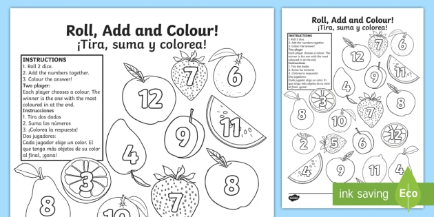 Fruit Roll And Colour Worksheet   Worksheet English Spanish