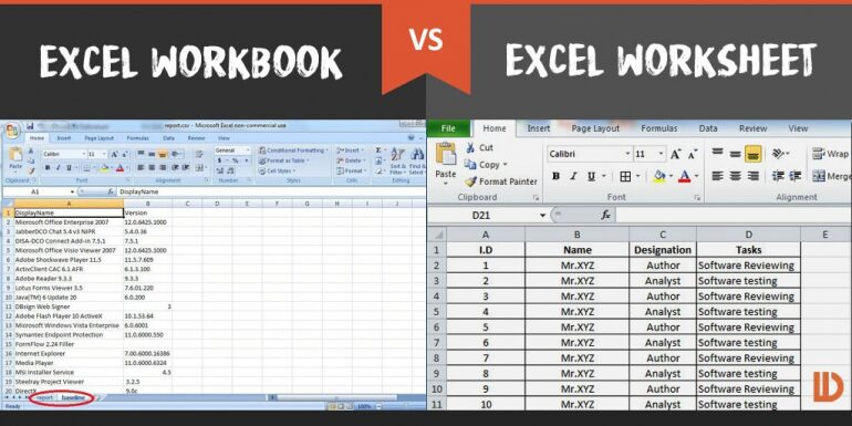 Difference Between Excel Workbook Vs  Excel Worksheet – Difference
