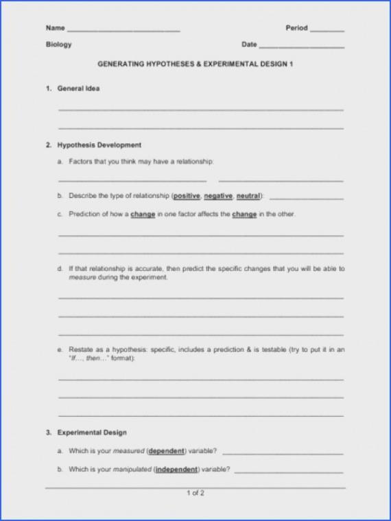 Experimental Design Worksheet Scientific Method Experimental