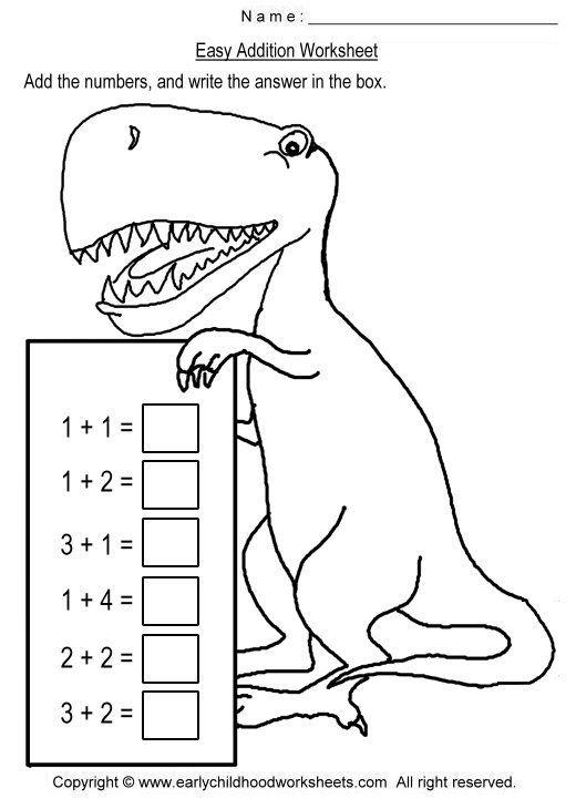 Simple Easy Kindergarten Dinosaur Addition