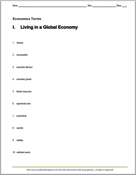 Living In A Global Economy Terms Worksheet
