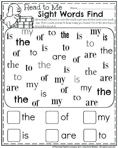 Sight Words Worksheets Preschool For Free
