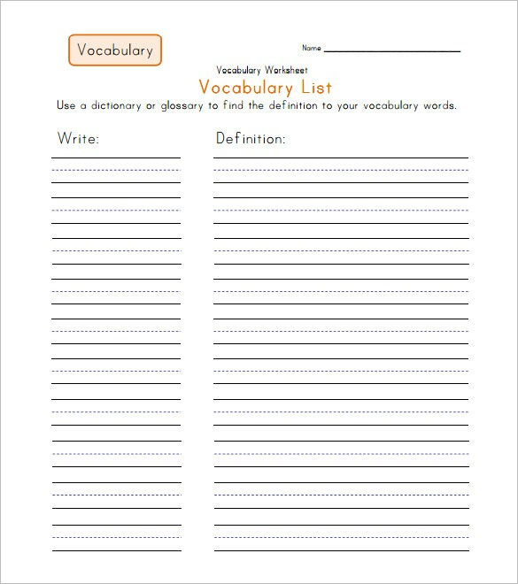 7+ Blank Vocabulary Worksheet Templates