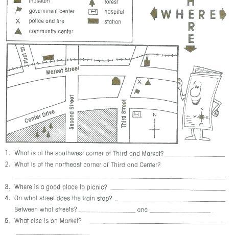 First Grade Map Skills Worksheets Worksheets Free Printable For