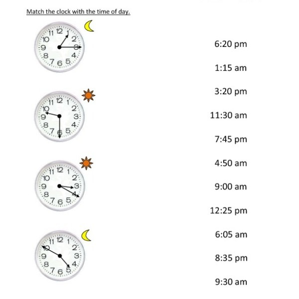First Grade Reading Clocks Worksheet 15 – One Page Worksheets