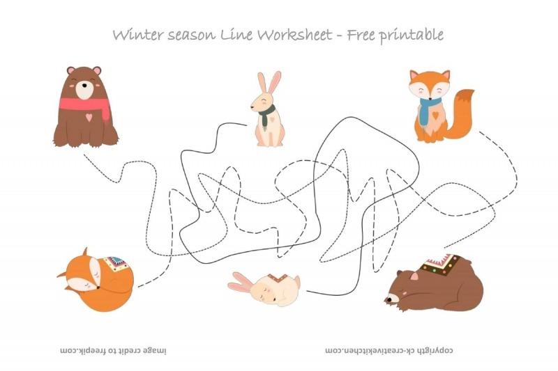 Forest Animals Line Worksheet