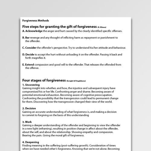 Forgiveness Worksheets & Handouts