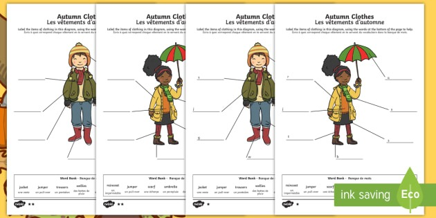Autumn Clothes Labelling Differentiated Worksheet   Worksheets