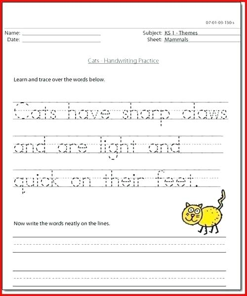Free Printable Cursive Handwriting Sentence Worksheets Writing For