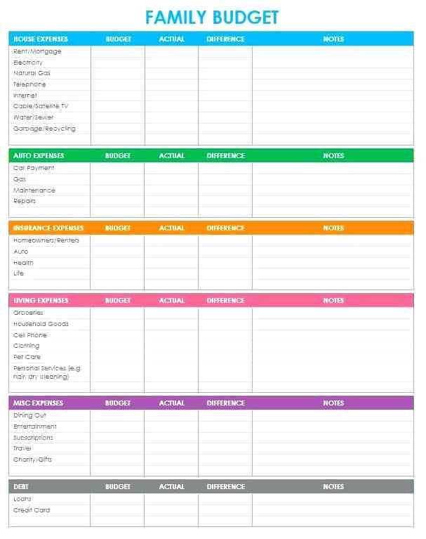 Free Printable Home Budget Template