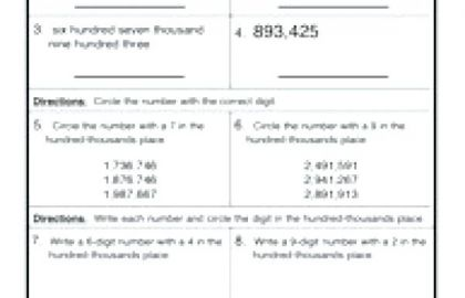 Free Printable Second Grade Worksheets Grade Math Place Value
