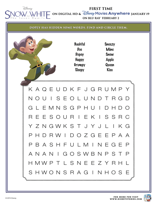 Free Snow White Printables  Activity Pages, Games And More