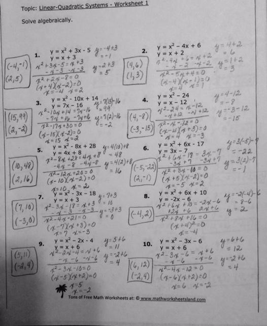 System Of Linear And Quadratic Equations Worksheet Answers