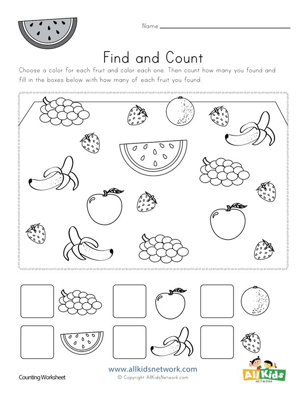 Fruit Find And Count Worksheet