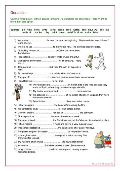 Gerund Worksheet Verb Gerund Review Worksheet Free Esl Printable