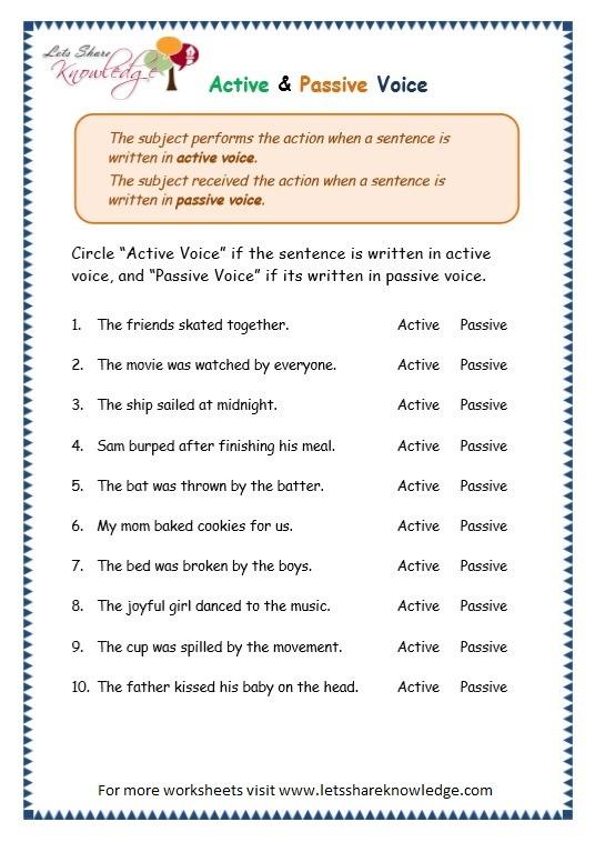Grade 3 Grammar Topic 3  Active Passive Voice Worksheets
