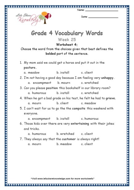 Grade 4  Vocabulary Worksheets Week 25