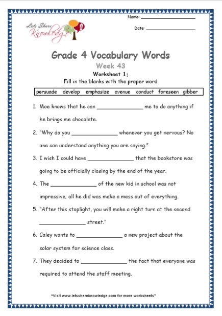 Grade 4  Vocabulary Worksheets Week 43