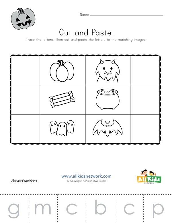 Halloween Beginning Sounds Cut And Paste Worksheet