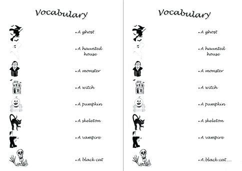 Halloween Vocabulary Worksheets Vocabulary Halloween Rhyming Words