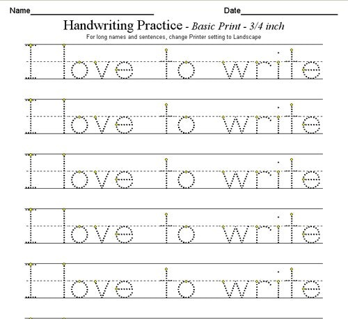 Handwriting Practice For Kindergarten