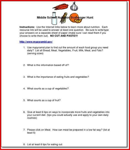 High School Health Worksheets Middle School Health Worksheets