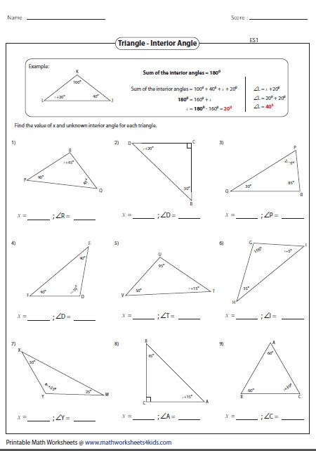 Interior Angles Of A Triangle Worksheet Pdf