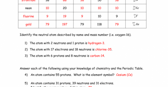 Isotopes Worksheet Answer Key