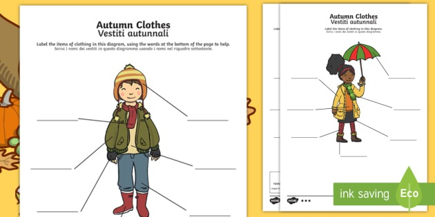 Autumn Clothes Labelling Differentiated Worksheet   Worksheet