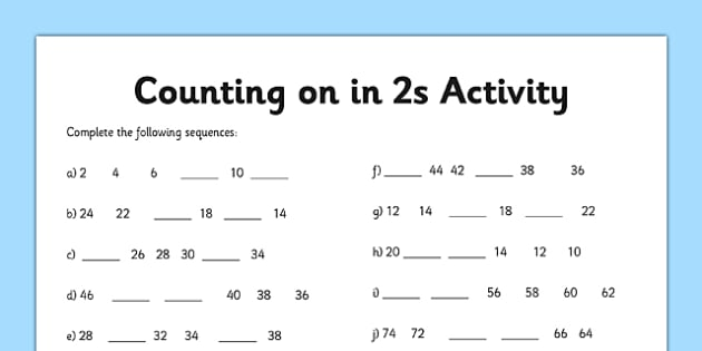 Learning Numbers Worksheets Counting In 2s Worksheet Counting