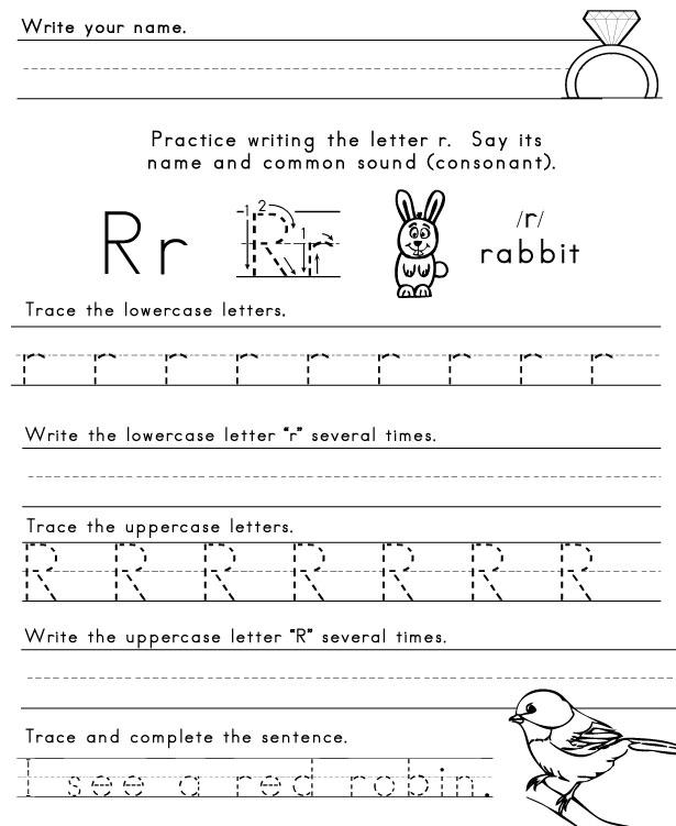Worksheets Letter R