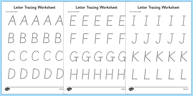 Letter Tracing Worksheets Letters Numbers And Shapes Tracing