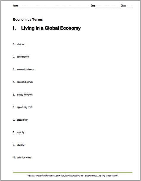 Printables  Economics Worksheets For High School