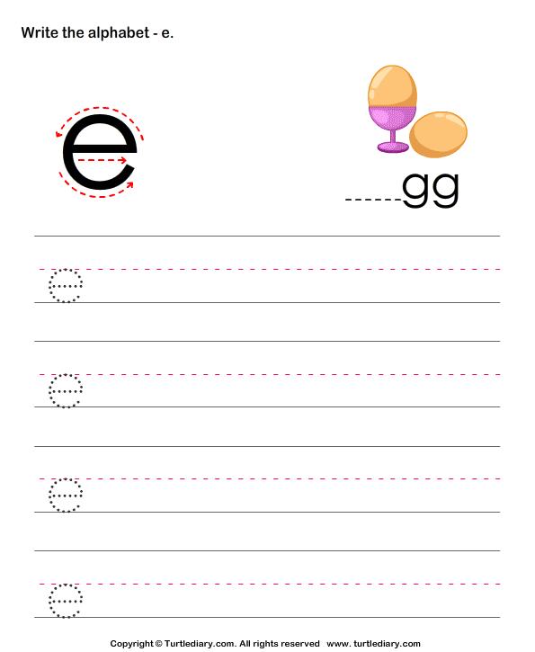 Lowercase Alphabet Writing Practice E Worksheet