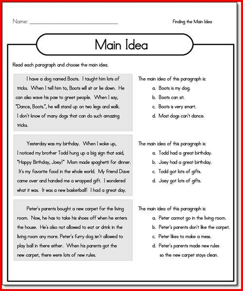 Main Idea Worksheets 2nd Grade For You ⋆ Free Printables