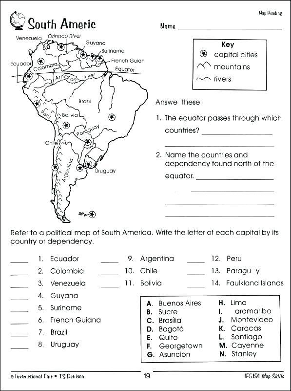Map Skills Worksheets Middle School