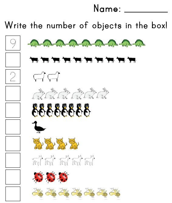 Preschool Number Matching Worksheet