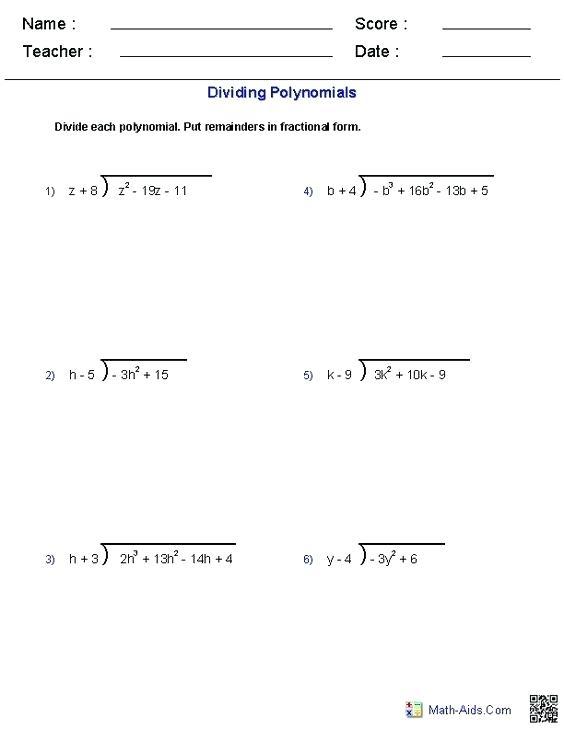 Math Aids Division Worksheets