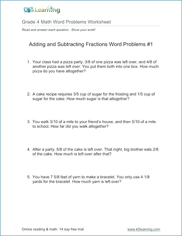 Math Problems Fractions With Answers Grade Math Word Problems
