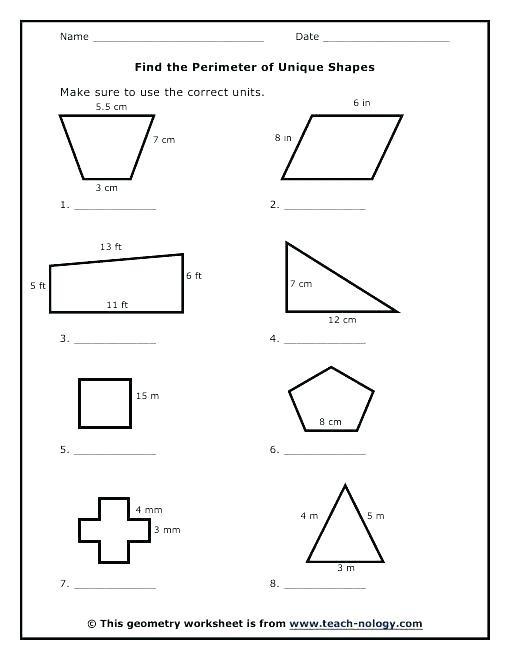 Perimeter Worksheets 3rd Grade