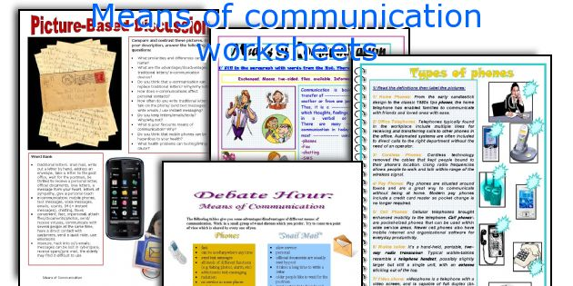 Means Of Communication Worksheets