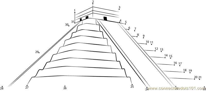 Mexico Mayan Pyramid Dot To Dot Printable Worksheet
