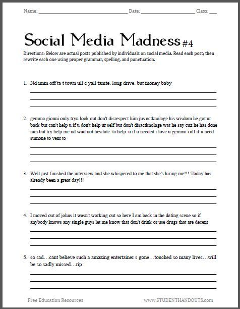 Middle School Grammar Worksheets Social Media Madness Worksheet 4