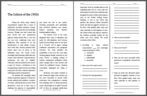 Middle School Social Studies Worksheets The Culture Of The 1950s