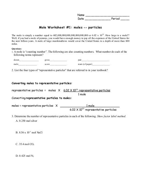 Mole Worksheet  1  Moles ↔ Particles